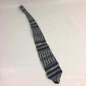 BACHRACH tie SILK NECKTIE blue pattern made ITAY